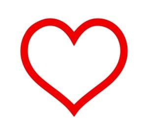 Contorno solido de corazón rojo vector editable