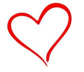 Contorno de corazón con pintura roja vector