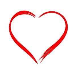 Corazón contorno de brocha color rojo vector