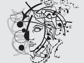 Arte abstracto Medio Rostro Vector
