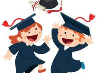 Niños graduados vector Toga y Birrete