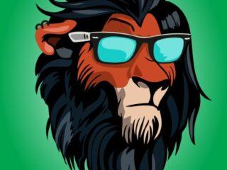 Rey León Scar malvado estilo hipster Vector