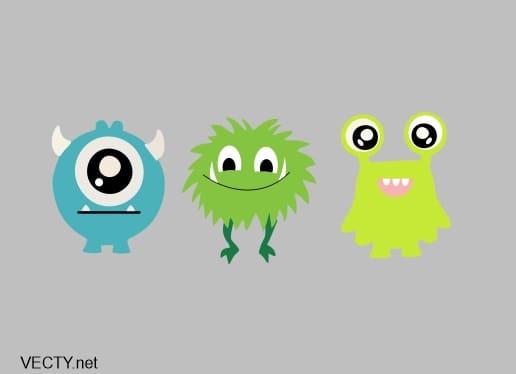 Monster set vector de 3 Monstruos de colores personajes de animación