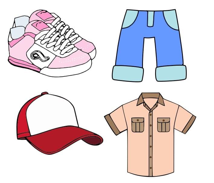 Ropa, tennis, camisa, pantalón y gorra vectores editables